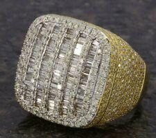 3ct White Sim Diamond Baguette Men's Square Hip hop Ring 14k Yellow Gold Plated