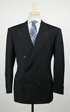 New. BRIONI Caligola Black Twill Wool Double Breasted Suit Size 52/42 S $5995