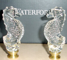 Waterford Seahorse Lamp Finials Set of 2 Crystal with Brass Base New