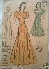 Vintage 30's DU BARRY 2420B DRESS GOWN HOUSE BRUNCH COAT ROBE Sewing Pattern