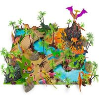 Prehistoric Playset | 100-piece Dinosaurs, Cave Men, Plants and Mat