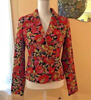 ISAAC Mizrahi for Target Womens Blazer Jacket Floral Size S Red Green Gold Black