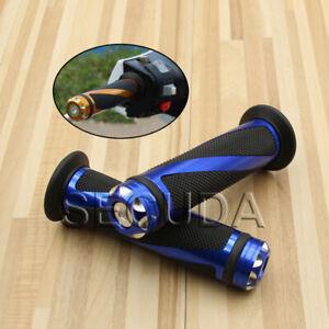 """Motorcycle Blue 7/8"""" Handlebar Hand Grips For Honda Suzuki Yamaha Kawasaki"""