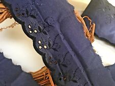 """3""""/7.5cm Navy Blue Cotton Broderie Anglaise Flat Lace Trim.Sewing/Crafts."""