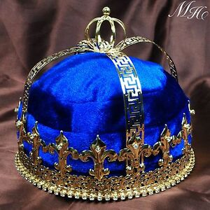 Blue Men Pageant Costumes Velvet Crown Imperial Medieval Party Tiara Diadem