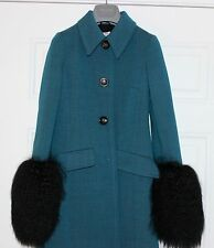 MIU MIU BY PRADA SLIM FIT WOOL COAT WITH SHEARLING CUFFS...SZ 2XS...NWT