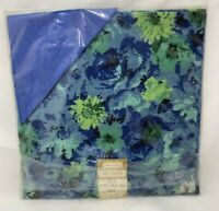 Imperial Creation Blue Floral 5 pc Tablecloth Napkins Tea Set Vintage Cotton NOS