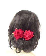 2 x Red Rose Flower Hair Pins Vintage Rockabilly Clip Bridal Bridesmaid 50s 2708