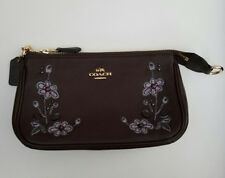 NWT Authentic Coach Floral Embroidered Leather Large Wristlet Clutch $195 F11882