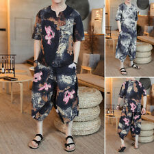 Mens Short Sleeve T Shirt & Pants Set Ethnic Floral Casual Suits Summer Clothing