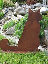 Edelrost Katze Main Coon sitzend Dekoration Garten Terrasse Tier Beet Kater