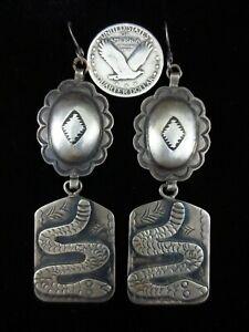 Vintage Navajo Earrings - Sterling Silver Snakes