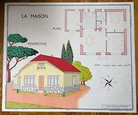 carte d'école - affiche scolaire 1960 rossignol - la maison et menuiserie