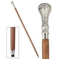 Artistic Detailed Chrome Handle Hardwood Gentleman's Walking Stick Cane