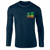 One Love Rasta Weed T-shirt High Time Jamaican Longsleeve Embroidered Top
