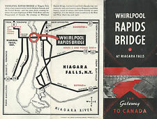 Whirlpool Rapids Bridge Niagara Falls New York Canada Vintage 1942 Brochure Map