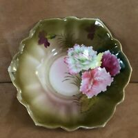 Floral bowl vintage porcelain green gold trim hand painted victorian flowers