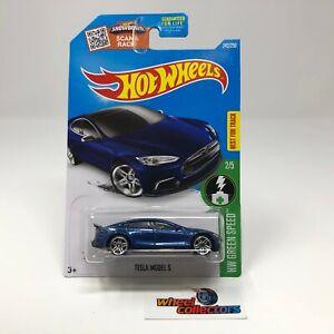 SALE! * Tesla Model S #242 * BLUE * 2016 Hot Wheels * ZA4