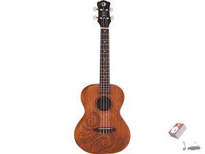 Luna Guitars Tattoo Tenor Mahogany Hawaiian 26-Inch Ukulele Uke with Gig Bag