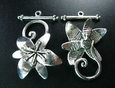 10 Set Tibetan Silver Flower Toggle Clasp T5124