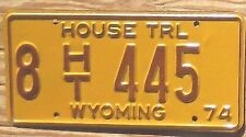 1974 Wyoming House Trailer License Plate 8 445