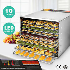 10 Tray Food Dehydrator Electric Stainless Steel Vegetables Fruit Jerky Dryer