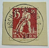 1920 BAVARIA STAMP #BY240 WITH PERFECTLY CENTERED ASCHAFFENBURG SON CANCEL