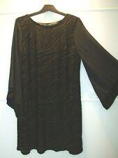 DOROTHY PERKINS Black Devore Fabric 3/4 Bell Sleeves Tunic Dress size UK 14