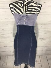 Patty USA Vintage 90s Denim Plaid Spaghetti Strap Zipper Dress Juniors S Small K