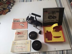 Very Good Vintage Garcia Mitchell 300 Spinning Reel with Box, Spool, Papers,Etc.