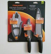 Fiskars Kitchen Essentials 3 pc Set Ergonomic Paring Chef Knife Shears Gift NEW