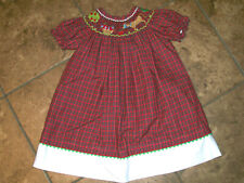 BOUTIQUE ANAVINI SMOCKED DRESS Apples Orchard Tree Horse Red Plaid 12 M Months