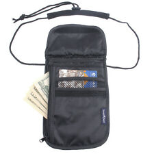 Travel Bag Neck String Passport Card Tickets Bag Pouch (Black), Brand New