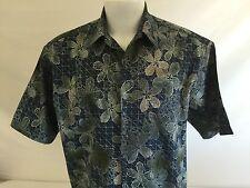 Pau Hana Hawai'i Mens Hawaiian Aloha Shirt Blue Floral Cotton Blend Large