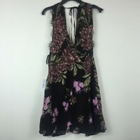 Free People Womens Size Large Black Floral Tunic Wrap Top Sleeveless RETAG