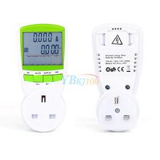 AC 230V LCD Energy Power Meter Test Socket Watt Electric Voltage Current UK Plug