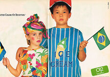 """PUBLICITE ADVERTISING  1985   UNITED  COLORS OF BENNETON  """"ICE CREAM""""  (2 pages)"""
