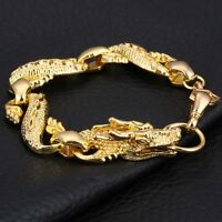 Gold Plated Dragon Chain Link Men's Bracelet