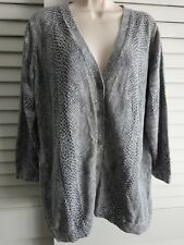 Isaac Mizrahi  XL / 1X  Gray Cotton Snake Boyfriend Cardigan Sweater QVC A216599