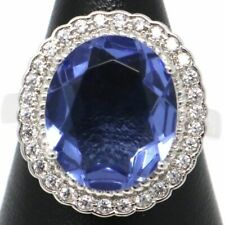 6 Ct Blue Sapphire Solitaire Ring Women Wedding Birthday Jewelry Gift Sizable