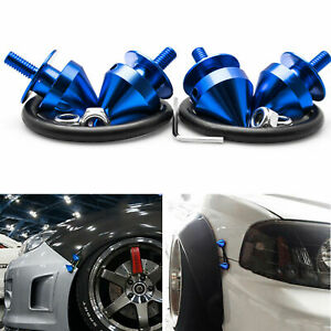 JDM Blue Spike Style Aluminum Quick Release Fasteners Kit For Bumper Hatch Lids