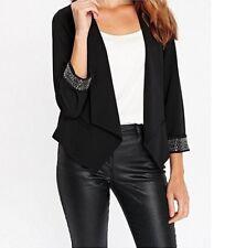 Ladies Jacket - Womens Wallis Black Plum New Blazer Waterfall Dinner Party Size