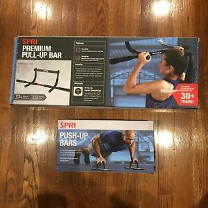 SPRI Premium Pull Up & Push-Up Bars Chest Shoulder Arm Home Gym Damage Box