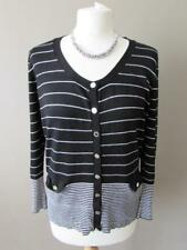 STAR BY JULIEN MACDONALD Ladies Black White Striped Fine Knit Cardigan Size 16