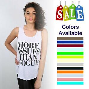 Women Ladies More Issues Slogan Print Vest Trendy Summer Tank  Shirt Fashion Top