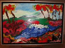 TABLEAU  ABSTRAIT - Henk de JONG- Acrylique sur toile - 60 x 40 - SBD - encadré