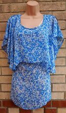 ROGERS + ROGERS BLUE RUFFLE SMOCK SHIFT FRILL BLUE FLORAL TUNIC CAMI TOP 24