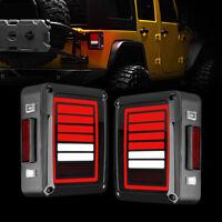 Fit 07-18 Jeep Wrangler JK Tail Lights 6 Bar LED with Turn Signal Lights - 2 PCs