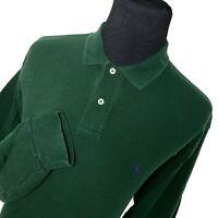 Polo Ralph Lauren Green Long Sleeve Purple Pony Casual Golf Polo Shirt Mens XL