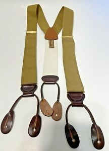 Trafalgar Golden Woven Suspenders Brown Leather Button Y Style